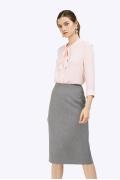 Классическая серая юбка с высокой талией Emka S775/dove