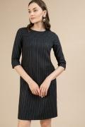 Черное платье в белую полоску Emka PL660/marino