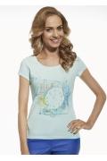 """Женская футболка из хлопка с рисунком """"Часы"""" Briana 8804"""
