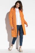 Длинный вязанный кардиган оранжевого цвета Fobya F573