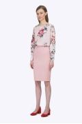 Прямая классическая юбка розового цвета Emka Юбка S687/fussy