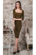 Платье-футляр оливкового цвета Donna Saggia DSP-352-59t