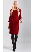 Платье из красного фактурного трикотажа TopDesign B8 013