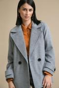 Серое пальто свободного кроя Emka R035/neapolitania