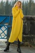 Жёлтый макси-свитер с воротником Fobya F621