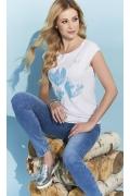 Летняя белая блузка с коротким рукавом Zaps Sewilla