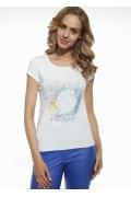Белая женская футболка из хлопка Briana 8804