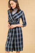 Темно-синее платье-миди с запахом Emka PL820/genrika