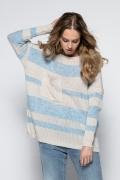 Свободный полосатый свитер оверсайз Fimfi I240