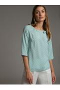 Мятная блузка прямого кроя в горох Emka B2524/open
