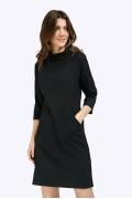 Полуприлегающее черное платье без подкладки Emka PL871/kenzi
