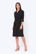 Чёрное платье с рубашечным воротом Emka PL-576/agrafena