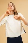 Блузка с контрастными лампасами Emka B2383/frai