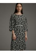 Черное платье с принтом из белых цветов Emka PL1042/clay