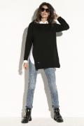 Чёрный свитер с большими разрезами по бокам Fobya F587
