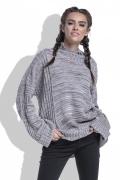 Меланжевый свитер очень длинным рукавом Fobya F434