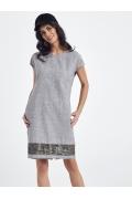 Летнее льняное платье серого цвета Ennywear 250019
