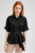 Удлиненная чёрная рубашка Emka B2301/kosta