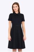 Стильное чёрное платье с воротником Emka PL-500-1/modesta