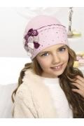 Шапка для девочки с бархатными цветами Willi Kusava