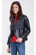 Чёрная куртка из кожзама Zaps Ivet