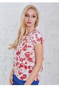 Красно-белая блузка из льна TopDesign A8 104