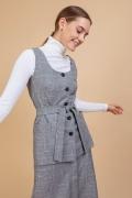Блузка серого цвета в клетку без рукавов Emka B2400/wilrayt