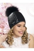 Женская шапка со вставкой из экокожи Willi Baja
