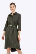Платье-рубашка цвета хаки в полоску Emka PL858/naira