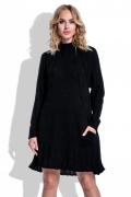 Тёплое вязаное платье чёрного цвета Fimfi I194