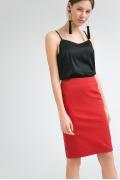 Красная юбка в мелкий белый горошек Emka S773/oktavian