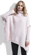 Теплый розовый свитер с бахромой Fimfi I222