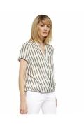 Летняя белая блузка в зелёную полоску Enny 230083