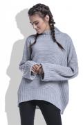Молодёжный свитер серого цвета oversize Fobya F423