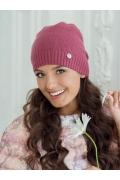 Молодёжная шапка брусничного цвета Landre Берта