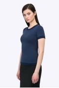 Облегающая синяя блузка с коротким рукавом Emka B2340/marku