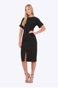 Чёрное платье с цельнокроеными рукавами PL-593/geneve