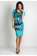 Бирюзовое платье из трикотажа TopDesignc A6 160