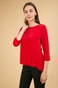 Красная блузка с драпировкой Emka B2468/sakita