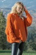 Оранжевый свитер oversize Fobya F612