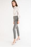 Серые зауженные брюки в полоску Emka D052/madrid