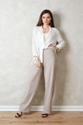 Широкие брюки бежевого цвета TopDesign Premium PA20 07