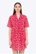 Красное платье-туника в белый цветок Emka PL-515/bitori