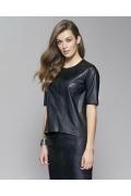 Чёрная кожаная блузка Zaps Basso