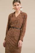 Коричневое платье с принтом Emka PL978/spot