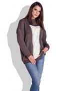 Коричневый свитер с контрастной вставкой спереди Fimfi I153