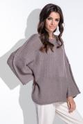 Коричневый свитер oversiz с широкими рукавами Fobya F424