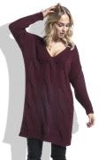 Длинный бордовый свитер Fimfi I232