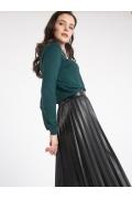 Черная юбка-плиссе из экокожи Emka S931/otago