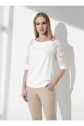 Белая блузка с кружевными рукавами Sunwear I59-4-08